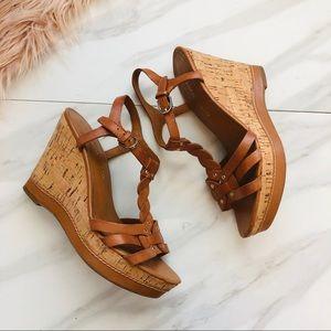 Franco sarto brown wedges sandals size 6.5